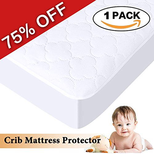 H.Versailtex Crib & Toddler Waterproof Mattress Protector Pad, Premium Hypoallergenic Fitted Cover with Extra Padding, 52″ x 28″, 1 panel