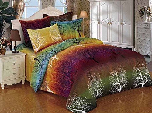 Rainbow Tree 3pc Bedding Set: Duvet Cover and Pillowcases (Twin)