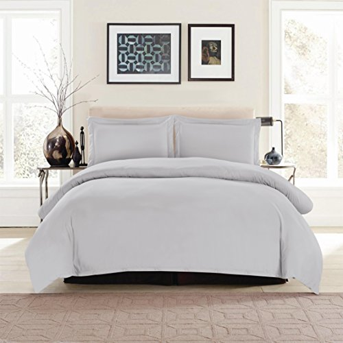 Lux Decor Collection Duvet Cover Set, 1800 Count Soft Egyptian Quality Hotel Luxury Queen Premium Bedding Duvet Cover, 3 Piece Luxury Soft, 2 Pillow Shams (Full/Queen, Light Grey)