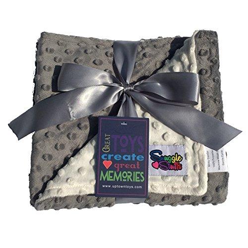 Reversible Unisex Children's Soft Baby Blanket Minky Dot (Choose Color) (Cream,Grey)