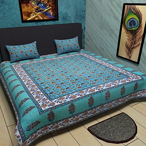 Traditional Mafia Floral Vine 100% Pure Cotton Printed Double Bedsheet with 2 Pillow Covers, King, Sea Blue