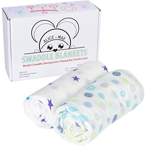 Muslin Swaddle Blanket Breathable and Super Soft – Bamboo Cotton Receiving Blankets XL (47″x47″) | Unisex for boys and girls- Babies, Infant, Toddler and Newborn | Perfect for gift