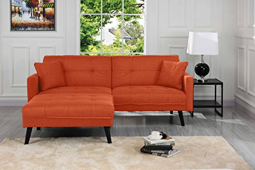 Mid-Century Modern Linen Fabric Futon Sofa Bed, Living Room Sleeper Couch (Orange)
