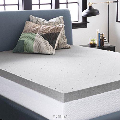 LUCID 3 Inch Bamboo Charcoal Memory Foam Mattress Topper – Queen