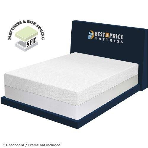 Best Price Mattress 8″ Memory Foam Mattress and New Innovative Steel Box Spring Set, Twin, White