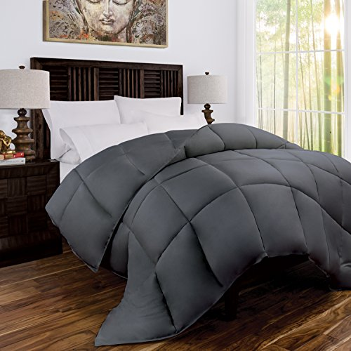 Mandarin Home Luxury 100% Bamboo Comforter with Goose Down Alternative Fill – All Season Hotel Quality Eco-Friendly Hypoallergenic Comforter – Twin/Twin XL – Gray