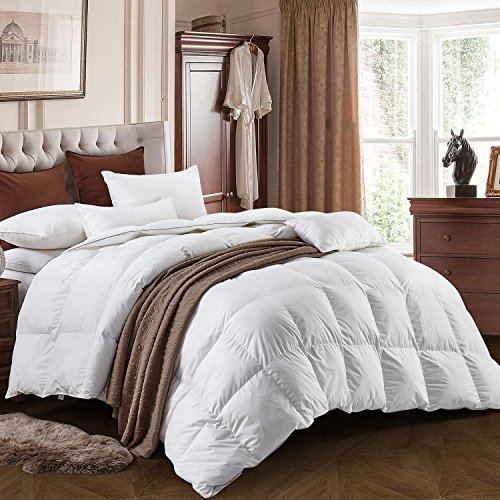 Three Geese King Size White goose down and Feather Comforter Duvet Insert All Seasons 100% Cotton Shell Down Proof,Hypoallergenic-Box Stitched