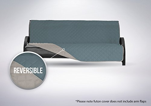 The Original SOFA SHIELD Reversible Slipcover Furniture Protector, Features 2 Inch Elastic Strap (Futon: Seafoam/Cream)