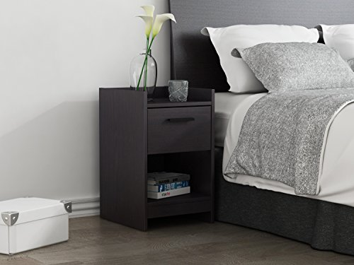 Homestar EB208753B9 Central Park 1 Drawer Nightstand, 15.98 x 13.7 x 22.44″, Black Brown