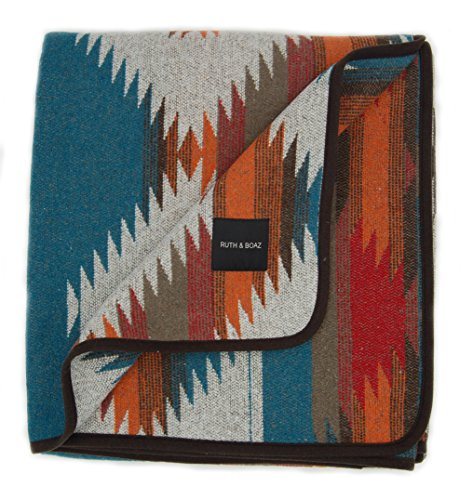 Ruth&Boaz Outdoor Wool Blend Blanket Ethnic Inka Pattern(M) (ORANGE, NORMAL)