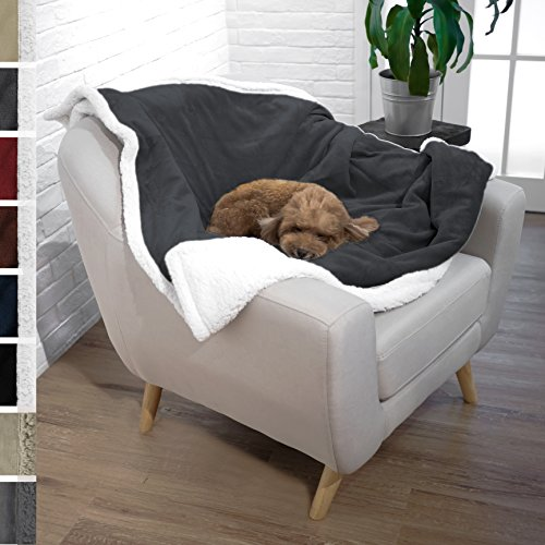 Premium Plush Soft Sherpa Pet Dog Blanket by PetAmi | Soft, Cozy, Comfortable, Lightweight Microfiber | Ideal for Dog, Cat, and Pet (50″ x 40″, Charcoal)