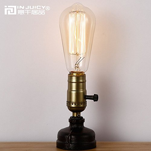 Injuicy Lighting Retro Loft Rustic Vintage Industrial Steampunk Wrought Iron Edison Bulb Table Light Led Water Pipe Desk Lamp Bedside Living Room Bedroom Home Deco Lighting