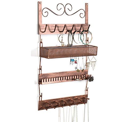 Bronze Metal Wall-Mounted 4-Tier Jewelry Rack, 18 Hook Earrings, Rings, Necklaces, Bracelets Organizer