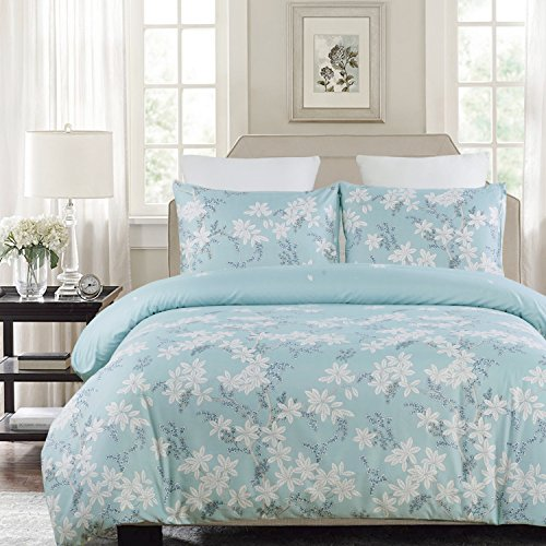 Vaulia Lightweight Microfiber Duvet Cover Set, Print Floral Pattern Design, Blue – Queen Size