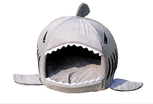 Pet bed, KAMIER Shark Round Washable Soft Cotton Dog Cat Pet Bed-Grey,M