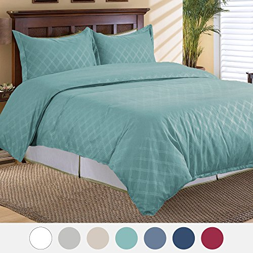 Duvet Cover Set with Zipper Closure-Aqua Diamond Pattern, King(104″x90″)-3 Piece (1 Duvet Cover + 2 Pillow Shams)-Ultra Soft Hypoallergenic Microfiber by Bedsure