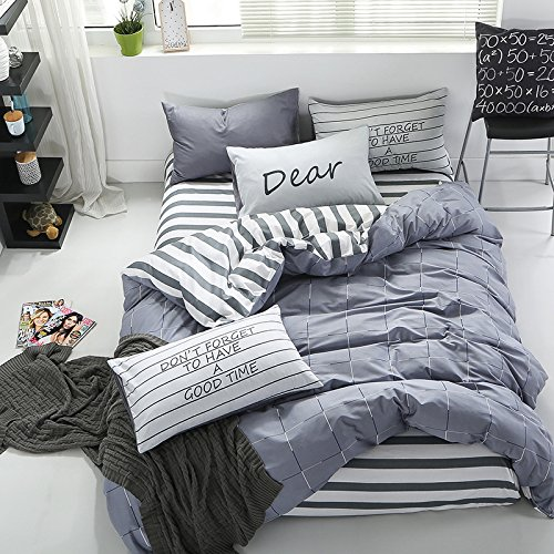InfiniteS 3 Pieces Duvet Cover Set 100% Cotton With Stripe Pattern Printed of 1 Piece Duvet Cover and 2 Pieces Pillow Shams Full/Queen Size (Style 09)