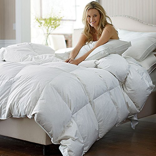 C&W LUXURIOUS GOOSE DOWN Comforter , Queen Size Down Comforter , 800TC – 100% Egyptian Cotton Cover, 700 Fill Power, 55 Oz Fill Weight, White Color