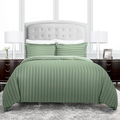 Beckham Hotel Collection Dobby Striped Duvet Cover Set – Luxury Soft Brushed Microfiber with Matching Shams – Hypoallergenic –King/California King – Sage