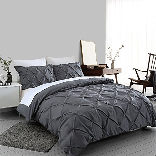 Ucharge Unique Pinch Pleat Pintuck Duvet Cover Set,3 Pieces Decorative Stylish Brushed Microfiber Bedding Set With Zipper and Corner Ties (King Dark Grey)