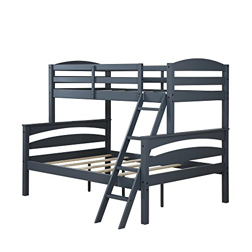 Dorel Living Brady Twin over Full Solid Wood Kid's Bunk Bed with Ladder, Gray