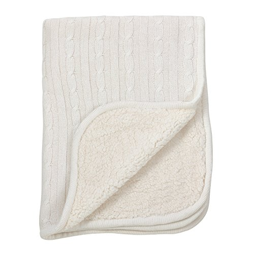 Fennco Styles Classic Cable Knit Sherpa Reversible Baby Blanket 3 Colors (Ivory)