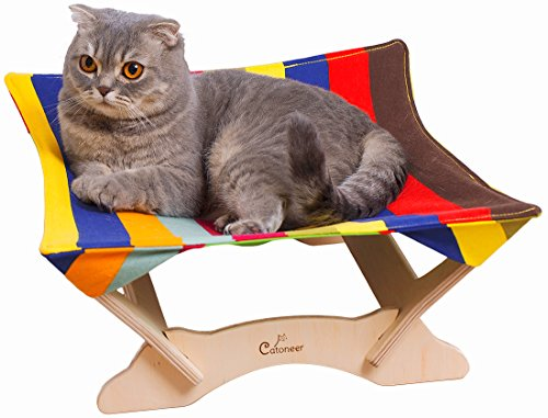 Catoneer Stylish Foldable Hammock Bed For Cats- 100% Cotton Padding- Soft & Comfy- Ideal For Pets Up to 15lbs- Lightweight To Carry Around- Birch Wood Construction- Great Gift Idea For Every Cat Lover