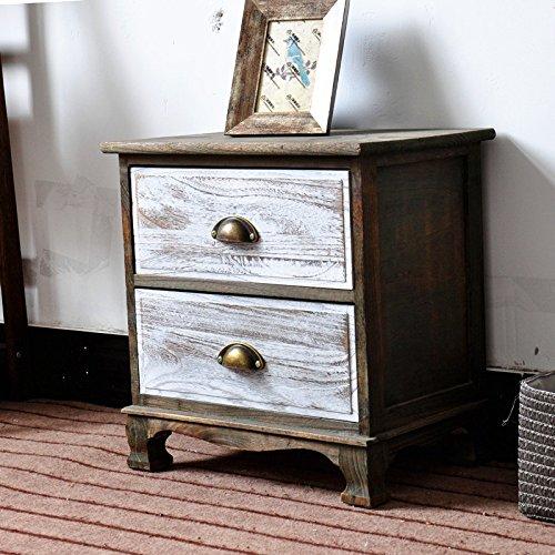 DL-Furniture Fully Assembled 2 Tone Finish Night Stand 2 Drawer Storage Shelf Organizer 100% Light Weight Basswood   2 Tone Finish White/Natural