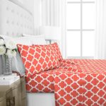 Egyptian Luxury 1800 Hotel Collection Quatrefoil Pattern Bed Sheet Set – Deep Pockets, Wrinkle and Fade Resistant, Hypoallergenic Printed Sheet and Pillow Case Set –California King – Coral