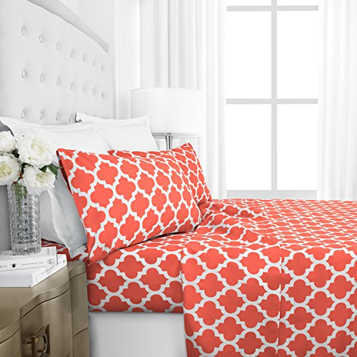 Egyptian Luxury 1800 Hotel Collection Quatrefoil Pattern Bed Sheet Set – Deep Pockets, Wrinkle and Fade Resistant, Hypoallergenic Printed Sheet and Pillow Case Set – California King – Coral