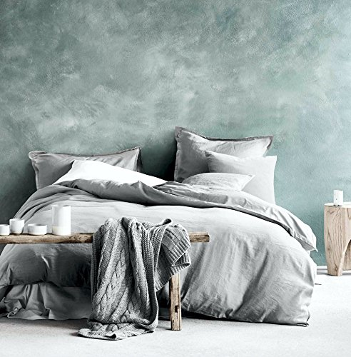 Washed Cotton Chambray Duvet Cover Solid Color Casual Modern Style Bedding Set Relaxed Soft Feel Natural Wrinkled Look (Queen, Ice Grey)