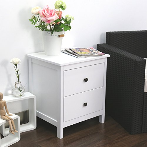 Kinbor Bedroom furniture Black Night Stand Table with Double Drawers and Cabinet for Storage (white 1)