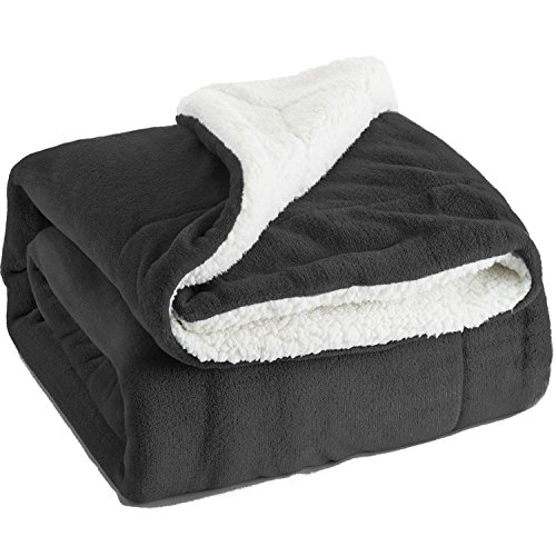 Sherpa Luxury Blanket Ash Black Queen Size 90″x90″ Reversible Fuzzy Microfiber All Season Blanket for Bed or Couch by Bedsure