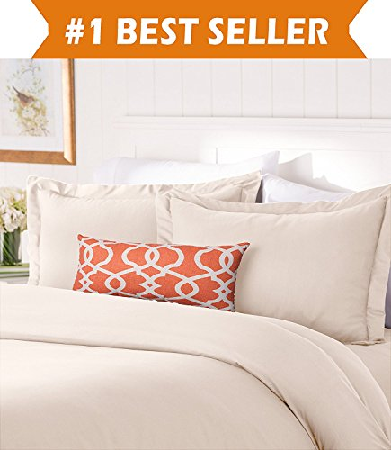 Elegant Comfort #1 Best Bedding Duvet Cover Set! 1500 Thread Count Egyptian Quality Luxurious Silky-Soft WRINKLE FREE 2-Piece Duvet Cover Set, Twin/Twin XL, Cream