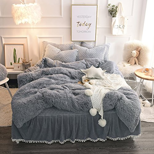 LIFEREVO Luxury Plush Shaggy Duvet Cover Set (1 Faux Fur duvet cover + 1 Pompoms Fringe Pillow Sham) Solid, Zipper Closure (Twin, Gray)
