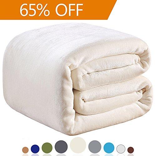 330GSM Fleece Blankets Queen Size for The Bed Warm Sofa Blanket 90″ x 90″(Ivory Queen)