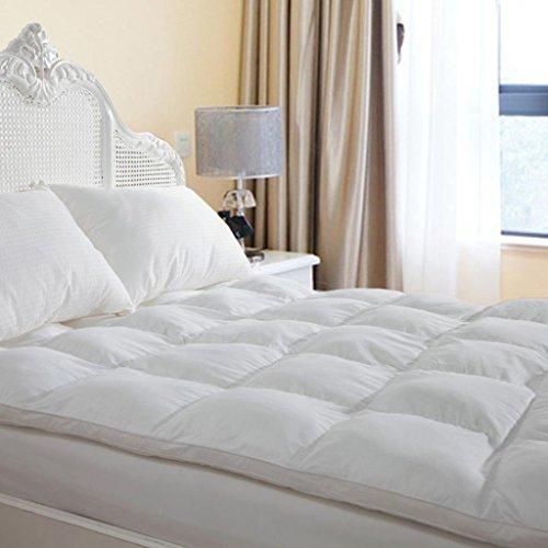 Duck & Goose Co Plush Durable Premium Hotel Quality Mattress Topper, Hypoallergenic Down Alternative Fiber with 10-Year Warranty, Queen Size, 2″ H