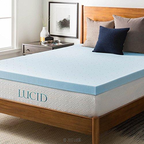 LUCID 3″ Gel Memory Foam Mattress Topper, Blue, Cal King