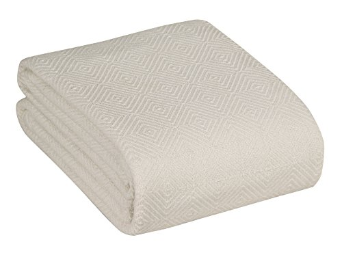 100% Cotton Thermal Blanket Soft – White Queen Cotton Blanket for All Seasons – Soft Cozy Warm Bedding Blanket Diamond Weave by Everything RUGS