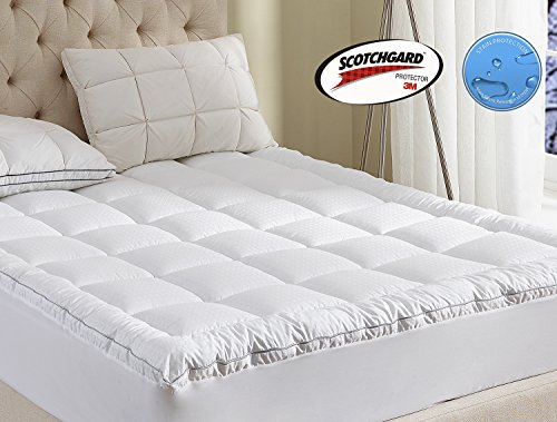 Mattress Pad Twin XL Size 2 Inchs Loft -400TC Cotton Top Water Resistant And Body Temperature Control-34oz Down Alternative Filling Pillowtop Mattress Topper Cover-Fitted Quilted 8-21 Inch Deep Pocket