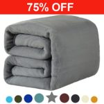 330 GSM Fleece Queen Blanket Super Soft Warm Extra Silky Lightweight Bed Blanket, Couch Blanket, Travelling and Camping Blanket (Grey)