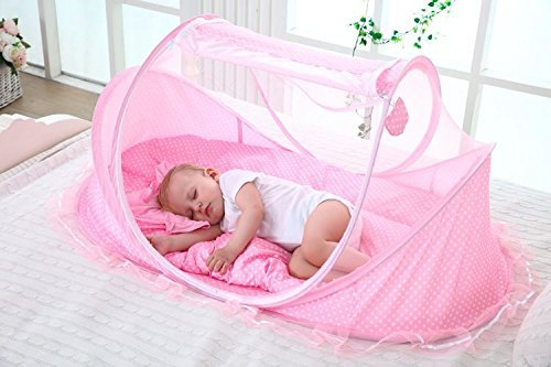 LOHOME Zippered Baby Mosquito Net – Free-installation Crib Mosquito Bed Portable Travel Baby Tent with Zipper Door Folding Baby Cots for 0-18 Month Baby Travel Bed