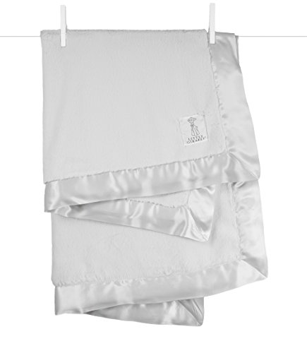 Little Giraffe Luxe Stroller Baby Blanket, Silver, 29″ x 35″