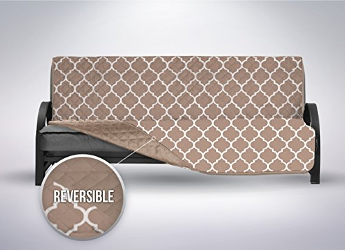The Original SOFA SHIELD Reversible Couch Slipcover Furniture Protector, 2 Inch Elastic Strap, Machine Washable, Cover Perfect for Pets and Kids, Seat Width Up to 70″ (Futon: Quatrefoil/Mocha)
