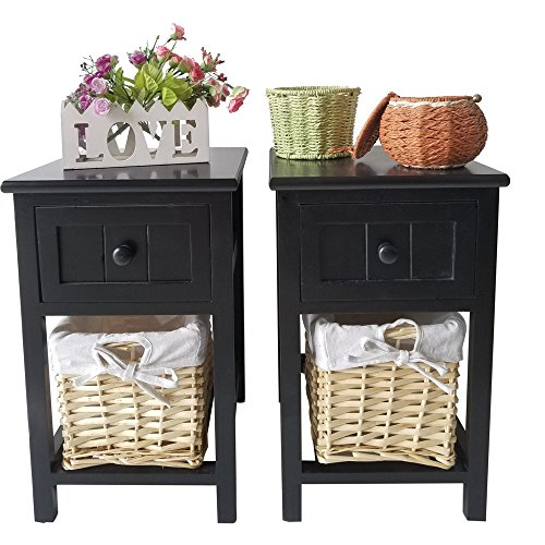 Leadzm 2pcs Country Style Two-tier Bedside End Night Tables Stand with Drawer Cabinet and Basket Set of Two for Bedroom Decoration Black