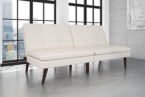 DHP Westbury Linen Pillowtop Futon, White Faux Leather