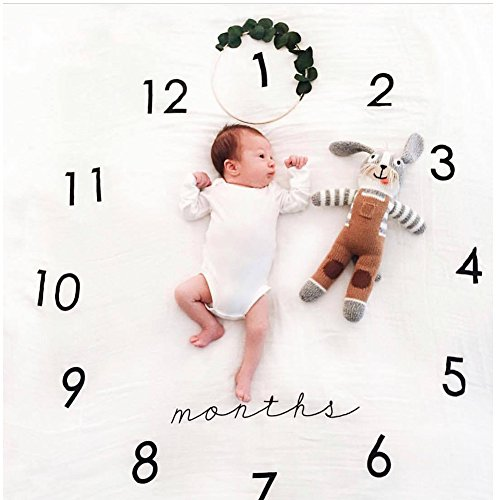 Moolon Newborn Baby Blanket for Photos Background Photography Monthly Growth Milestone Numbers Props Stroller covers (# 3)