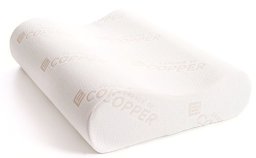 Cervical Contour Memory Foam Pillow by Essence of Copper- Copper Infused Pillows for Healthful Sleep Featuring Skin Rejuvenating, Anti Aging, Wrinkle Prevention & Microbe Inhibiting Properties