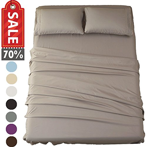Sonoro Kate Sheets Super Soft Microfiber 1800 Thread Count 16 Inch Deep Pocket 4 Piece Queen Grey