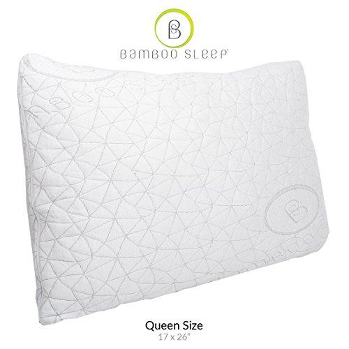 Bamboo Sleep PREMIUM Adjustable Comfort Pillow – Dual Cover Hypoallergenic Certipur-US Shredded Memory Foam – Queen Size